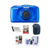 Nikon Coolpix W100 Point & Shoot Camera, Blue - Bundle Wi...
