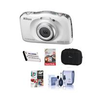 Nikon Coolpix W100 Point & Shoot Camera, White - Bundle W...