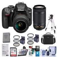 Nikon D3400 DX-Format DSLR Camera, Black with AF-P DX NIK...