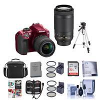Nikon D3400 DX-Format DSLR Camera, RED with AF-P DX NIKKO...