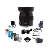 Panasonic Lumix G Leica DG MACRO-ELMARIT 45MM F/2.8 Aspherical Mega O.I.S. Lens - Bundle With 46MM Filter KIT, Focusshifter Dslr, Flex Lens Shade, Cleaning KIT, Lens Wrap, Software Package