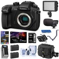 Panasonic Lumix DC-GH5 Mirrorless Camera Body, Black - Bundle With 32GB SDHC U3 Card, Spare Battery, Camera Case, Cleaning Kit, Memory Wallet, Card Reader, Software Package