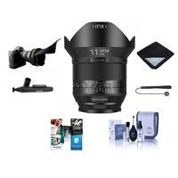 IRIX 11mm f/4.0 Blackstone Lens for Canon EOS DSLR Cameras - Manual Focus Bundle With Flex Lens Shade, Lens Wrap, Cleaning Kit, Capleash II, Lenspen Lens Cleaner, Software Package