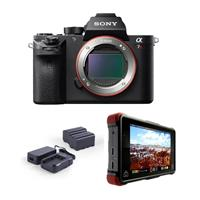"Sony A7R II Alpha Full Frame Mirrorless Digital Camera Body - Bundle With Atomos Ninja Flame 7"" Monitor Recorder, Atomos Power KIT"