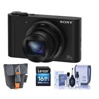 Sony CYBER-SHOT DSC-WX500 Digital Camera, 18.2MP Black, - Bundle With Camera Case, 16GB Class 10 Sdhc Card, Cleaning KIT