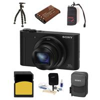 Sony CYBER-SHOT DSC-WX500 Digital Camera 18.2MP Black - Bundle With Camera Case, 32GB Class 10 Sdhc Card, Spare Battery, Cleaning KIT, Memory Wallet