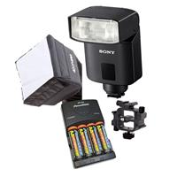 HVL-F32M TTL External Flash For Sony ALPHA7 Series Cameras - Bundle With 4 AA Nimh 2500MAH BATTERIES/CHARGER, Mini Soft BOX Diffuser, Triple Shoe Mount Bracket, Guide Number 105' AT ISO 100 And 105MM