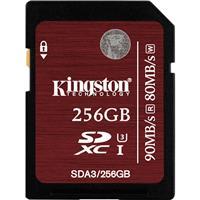 Kingston 256GB SDXC Class 3 UHS-I U3 Memory Card, Speeds ...