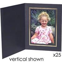 "Classic Black Portrait Folders for Horizontal 5x7"" Prints..."