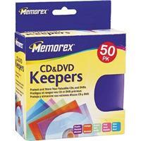 Memorex CD/DVD Polyprpoylene Keepers, Assorted Colors, 50 Pack
