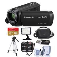 Panasonic HC-V380K Full HD Camcorder With WI-FI, - Bundle With Video BAG, 32GB Class 10 Sdhc U3 Card, Tripod, Video Light, Cleaning KIT, Memory Wallet, Card Reader
