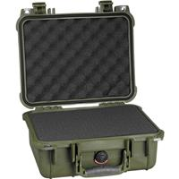 "Pelican 1400 Small Case with Foam, 4"" Bottom Depth, Olive..."