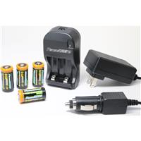 Powerpro CR-123A Rechargeable Batteries (4) and Universal...