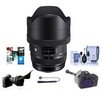 12-24mm f/4 DG HSM ART Super Wide-Angle Zoom Lens, for Sigma DSLRs - Bundle With Flex Lens Shade, FocusShifter DSLR Follow Focus, Cleaning Kit, Caplea
