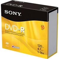Sony 4.7GB DVD-R Recordable Disc, 10 Pack