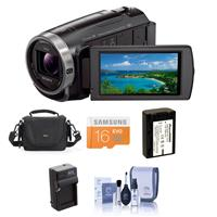 Sony HDR-CX675/B HD Camcorder With Exmor R CMOS Sensor - Bundle With Video BAG, 16GB Microsdhc Card, Spare Battery, Cleaning KIT, Rapid Charger