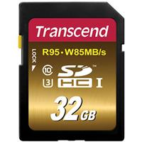 Transcend 32GB Class 10 SDXC/SDHC UHS-I U3 Memory Card fo...