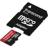 Transcend 32GB microSDHC Premium 300x Class 10 UHS-I Memory Card with SD Adapter, 45MB/s Max Read Speed, 25MB/s Max Write Speed