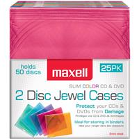 Maxell CD-392 Double Slimline Color CD Jewel Cases, 25 Pack