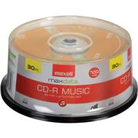 Maxell Max Data CD-R 80 32x Music Gold for Audio Recording, Spindle Pack of 30