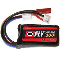 VENOM Fly 30C 2S 300mAh 7.4V LiPo Battery with JST and E-...
