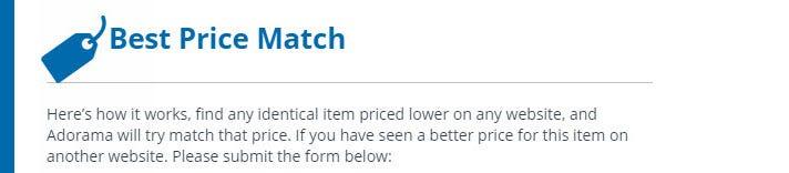 Price Match Program Price Match On Select Items Adorama