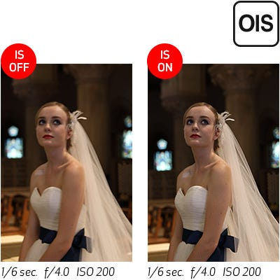 Image Stabilization at up to 4* Stops of Shake Correction