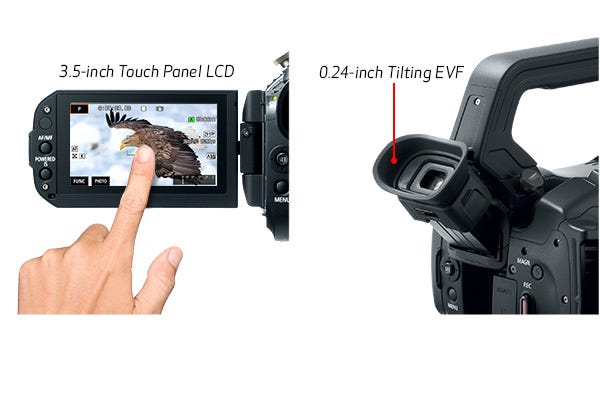 3.5-inch Touch Panel LCD and 0.24-inch Electronic Viewfinder