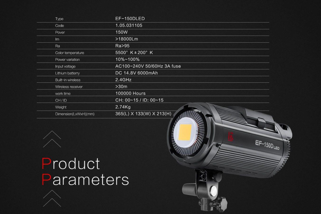 Jinbei Ef 150d 150w Led 5600k Battery Studio Video Sun