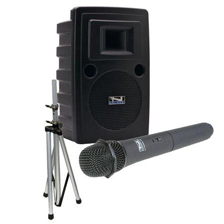 Anchor Audio LIB-7500MU1 Speaker with MP3 and Wireless Receiver, SS-550 Speaker Stand, WH-6000 Handheld Microphone