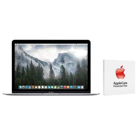 "Apple 12"" MacBook, Intel Core M 1.3GHz, 8GB RAM, 256GB PCIe Flash Storage, Mac OS X 10.10 Yosemite, Silver - Bundle with AppleCare 3 Year, Extended Protection Plan"