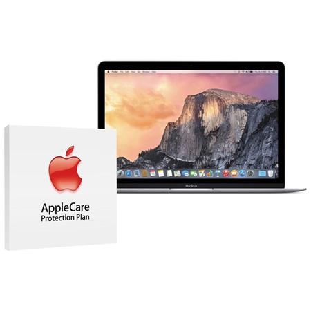 """Apple 12"""" MacBook, Intel Core M 1.3GHz, 8GB RAM, 256GB PCIe Flash Storage, Mac OS X 10.10 Yosemite, Space Gray - Bundle With AppleCare 3 Year, Extended Protection Plan"""