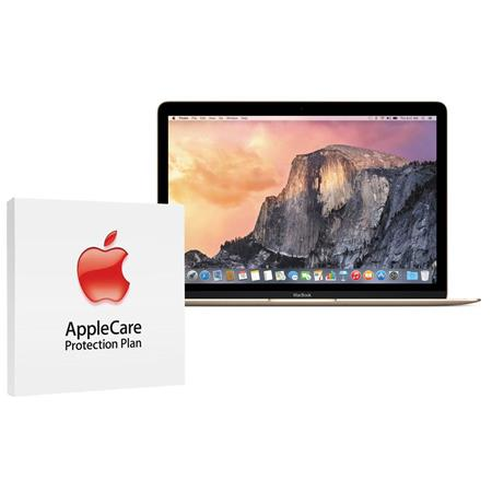 """Apple 12"""" MacBook, Intel Core M 1.3GHz, 8GB RAM, 256GB PCIe Flash Storage, Mac OS X 10.10 Yosemite, Gold - Bundle With AppleCare 3 Year, Extended Protection Plan"""
