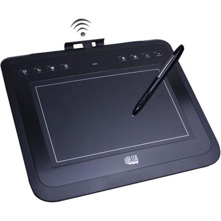 "Adesso CyberTablet W10 8x5"" RF Wireless Graphic Tablet, 30' (10m) Wireless Range, 8 Hot Keys, 4,000 lpi Resolution"