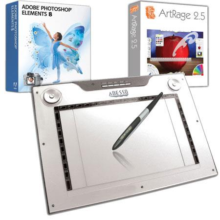 "Adesso CyberTablet M14 12x7.5"" Widescreen Media USB Graphic Tablet with Adobe Photoshop Elements 8.0 and ArtRage 2.5"