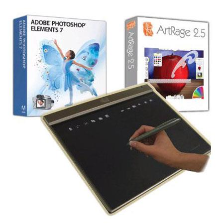 "Adesso CyberTablet Z12A Ultra Slim 10x6"" Widescreen Slim USB Graphic Tablet w/Adobe Photoshop Element 7.0 & Artrage 2.5, 1024 LPI with 12 Function, 16"
