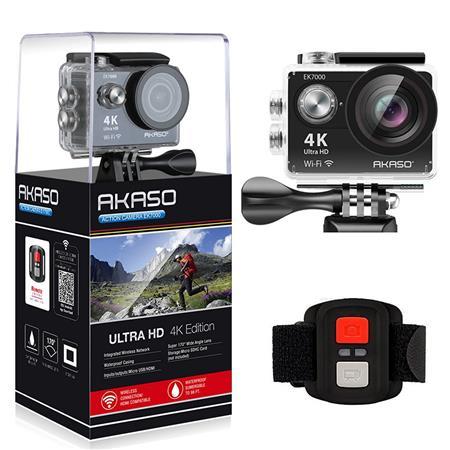 AKASO EK7000 12MP 4K Ultra HD Waterproof Action Camera with Wi-Fi, Black