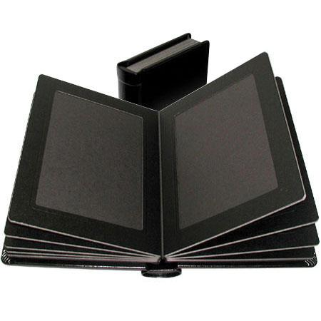 """Adorama Pro Photo Album, Black Leatherette Cover with 9 Library Bound Black Pages, Holds 18 5"""" x 7"""" Prints image"""