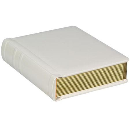 "Flora Bella Series, Professional Library Bound Album, Pearl Cover with Gold Trimmed Ivory Pages, 18 Page Capacity Holds 36 8"" x 10"" Photos. image"