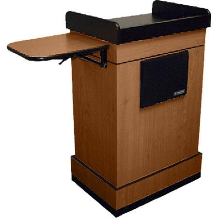 AmpliVox SW3230 Wireless Multimedia Computer Lectern with Wireless Sound and Headset Microphone, Medium Oak