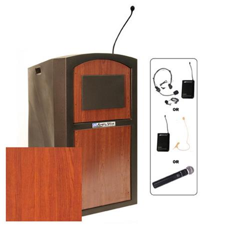 AmpliVox SW3250 Pinnacle Full Height Wireless Sound Lectern with 50 Watt Amplifier and Headset Microphone, Select Cherry