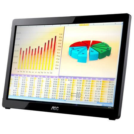 "Discount Electronics On Sale AOC AOC 15.6"" Widescreen USB LED LCD Monitor, 1366x768 Resolution, 50000000:1 Contrast, 16:9 Aspect Ratio, USB Powered, Piano-Black"