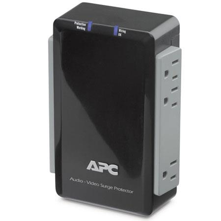 APC Audio/Video 6 Outlet Surge Protector with Coax Protection, 120V Input Voltage, 50/60Hz Input Frequency, Black
