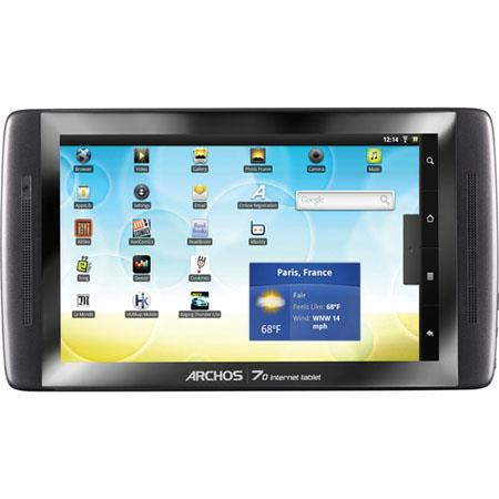 "Archos 70 Internet Tablet, 8GB Flash Memory, 7"" Capacitive Multitouch Screen, ARM Cortex A8 1 GHz, Flash 10 Support, WiFi, Bluetooth, Android 2.2"