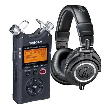 Audio-Technica ATH-M50x Professional Monitor Headphones, Black - Bundle With Tascam DR-40 4-Track Handheld Digital Audio Recorder