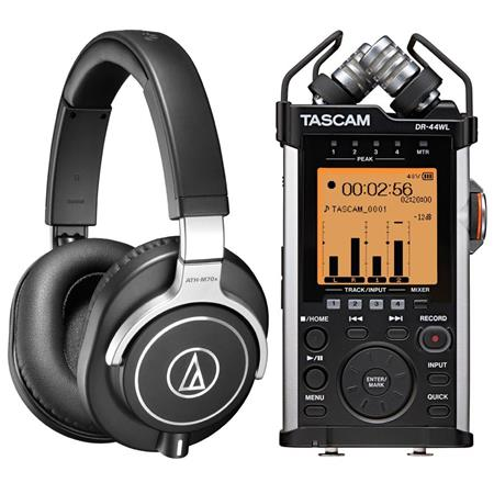 Audio-Technica ATH-M70X Closed-Back Dynamic Professional Flagship Monitor Headphones, - Bundle With Tascam DR-44WL 4-Channels Handheld Audio Recorder