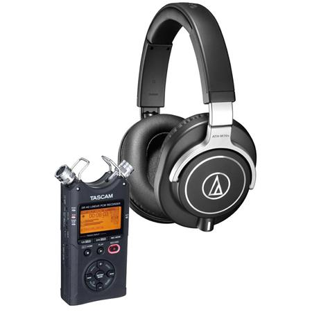 Audio-Technica ATH-M70X Closed-Back Dynamic Professional Flagship Monitor Headphones, - Bundle with Tascam DR-40 4-Track Handheld Digital Audio Recorder