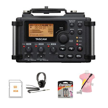 Tascam DR-60D 4-Channel Linear PCM Recorder - Bundle - with 8GB SDHC Class 10 Card, Op/Tech Utility Strap Sling, 4 AA Batteries, and Sony MDR-7506 Professional
