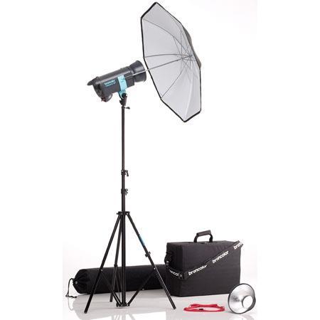 Broncolor Minicom Basic Monolight Kit, with One 600 Ws Minicom 80 Monolight Optimized for 230V or 120V, Umbrella, Light Stand & Travel Bag.