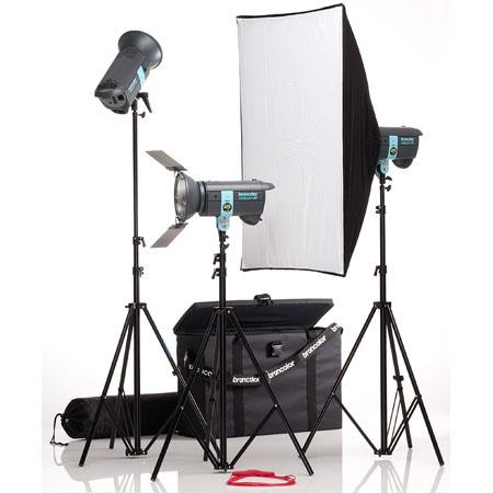 Broncolor Minicom Classic Monolight Kit, with Two 300 Ws Minicom 40 & One 600 Ws Minicom 80 Monolights Optimized for 230V or 120V, Light Stands & Travel Bag.